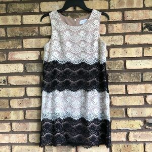 Black and White Lace Semi-Formal Dress